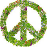 Green Peace Symbol From  Spring Plants Poster