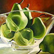 Green Pears In Glass Bowl Poster
