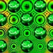 Green Polka Dot Roses Fractal Poster