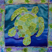 Green Sea Turtle Silk Painting Poster
