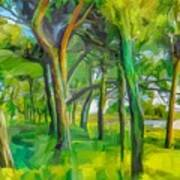 Green Shore Trees Poster