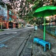 Green Umbrella Bus Stop Poster by Michael Thomas