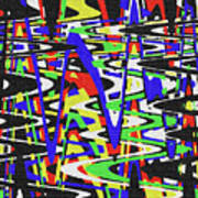 Green Yellow Blue Red Black And White Abstract Poster