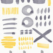 Grey And Yellow Shapes- Abstract Painting Poster