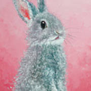 Grey Easter Bunny Poster