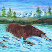 Grizzley Catching Fish In Stream Poster