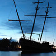 Grounded Tall Ship Silhouette Poster by Oleksiy Maksymenko