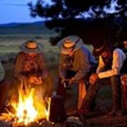 Group Of Cowboys Around A Campfire Poster