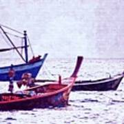 Group Of Fishing Boats Poster