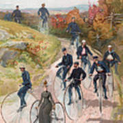Group Riding Penny Farthing Bicycles Poster