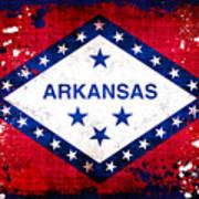 Grunge Style Arkansas Flag Poster