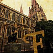 Grungy Melbourne Australia Alphabet Series Letter F Captain Matt Poster