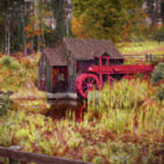 Guildhall Grist Mill In Fall Poster