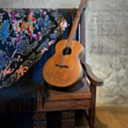 Guitar On A Bench Poster