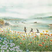 Gulls Over Flowers At The Bay Poster