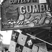 Gumbo Sign - Black And White Poster