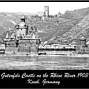 Gutenfels Castle On The Rhine, Kaub, Germany, 1903, Vintage Phot Poster