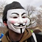 Guy Fawkes Mask At Political Demonstration Poster