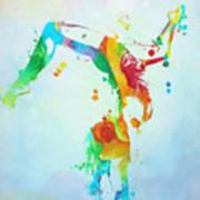 Gymnast Watercolor Paint Splatter Poster