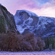 Half Dome Fall And Snow Poster