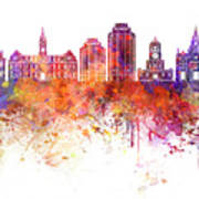Halifax V2 Skyline In Watercolor Background Poster