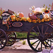 Halloween Cart Full Of Fall Harvest Goodies  Poster