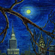 Halloween Night Over New York City Poster by Anna Folkartanna Maciejewska-Dyba