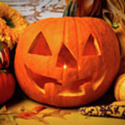 Halloween Pumpkin Smiling Poster