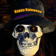 Halloween Skull With Hat Poster
