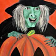 Halloween Witch And Pumpkin Art Poster