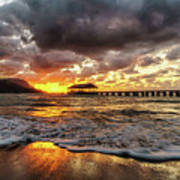 Hanalei Pier Reflections Poster
