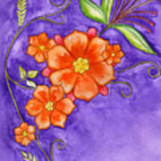 Hand Drawn Pencil And Watercolour Flowers In Orange And Purple Poster