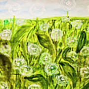 Hand Painted Picture, Meadow With White Dandelines Poster