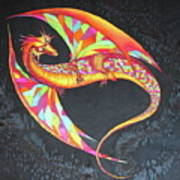 Hand Painted Silk Scarf Dragon On Black Poster