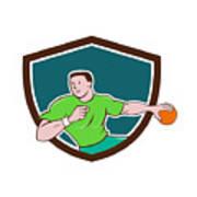 Handball Player Throwing Ball Crest Cartoon Poster
