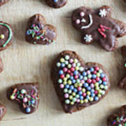 Handmade Decorated Gingerbread Heart And People Figures Poster