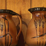 Handmade Pottery Pitchers Poster by Linda Phelps