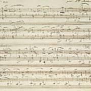 Handwritten Score For Waltz In Flat Major Poster