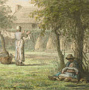Hanging Out The Laundry By Jean-francois Millet Poster