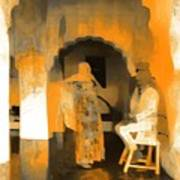 Hanging Out Travel Exotic Arches Orange Abstract Square India Rajasthan 1c Poster