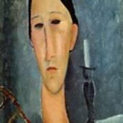 Hanka Zborowska With A Candlestick Poster by Amedeo Modigliani