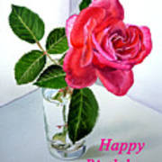 Happy Birthday Card Rose  Poster