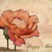 Happy Birthday Peach Rose Card Poster