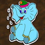 Happy Blue Elephant Gingerbread Poster