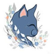 Happy Cat In The Springtime Garden Poster