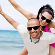 Happy Couple On Beach Poster