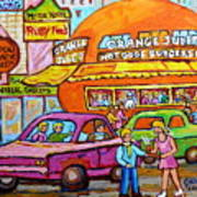 Happy Days At The Orange Julep Paintings C Spandau Decarie Strip Montreal Memories Quebec Art        Poster
