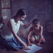 Happy Family Sisters And Brothers Read Books In The Evening At H Poster