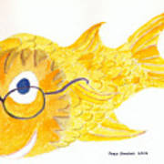 Happy Fish With Glasses Poster