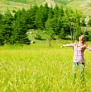 Happy Girl Enjoying Nature Poster